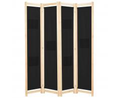 vidaXL Biombo divisor de 4 paneles de tela negro 160x170x4 cm