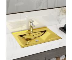 vidaXL Lavabo con rebosadero 60x46x16 cm cerámica dorado