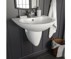 vidaXL Lavabo de pared de cerámica blanco 520x450x190 mm