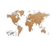 MiMi Innovations Mapa decorativo pared Luxury puzzle marrón 100x60 cm