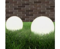vidaXL Juego de lámparas de bola LED 2 piezas esféricas 25 cm PMMA