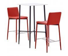 vidaXL Juego de mesa alta y taburetes 3 piezas cuero sintético rojo