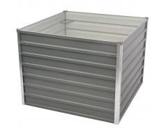 vidaXL Jardinera elevada 100x100x77 cm acero galvanizado gris