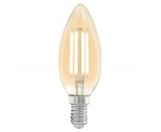 EGLO Bombilla LED de estilo vintage E14 C37 11557, Color ámbar