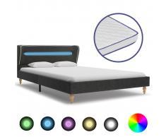 vidaXL Cama con LED arpillera gris oscuro colchón viscoelástico 140 cm