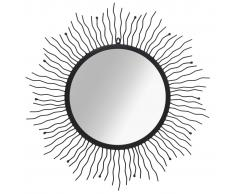 vidaXL Espejo de pared con forma de sol radiante 80 cm negro