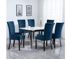 vidaXL Sillas de comedor con reposabrazos terciopelo azul 6 unidades