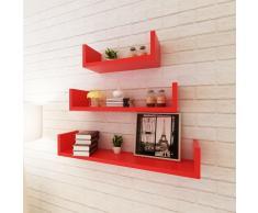 vidaXL 3 estantes exhibidores flotantes de pared en forma U tablero DM rojo