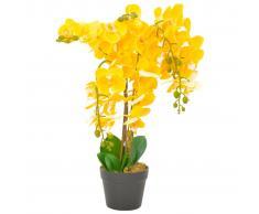 vidaXL Planta artificial orquídea con macetero 60 cm amarilla