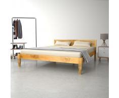vidaXL Estructura de cama de madera de mango maciza 160 cm