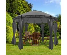 vidaXL Cenador con cortinas redondo 3,5x2,7 m gris antracita