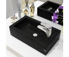 vidaXL Lavabo con agujero grifo rectangular cerámica 46x25,5x12 negro