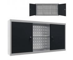 vidaXL Armario de herramientas de pared industrial metal gris y negro