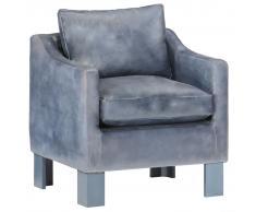 vidaXL Sillón con diseño de cubo cuero auténtico gris