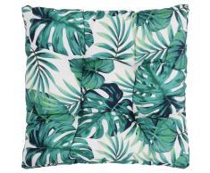 vidaXL Cojín de asiento de jardín de tela estampado hojas 80x80x10 cm