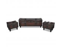 vidaXL Banco baúl plegable, estilo cofre, marrón, 3 unidades