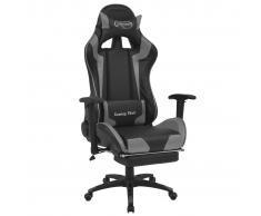 vidaXL Silla de escritorio reclinable Racing con reposapiés gris