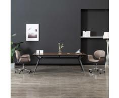 vidaXL Silla de oficina giratoria de tela gris taupe
