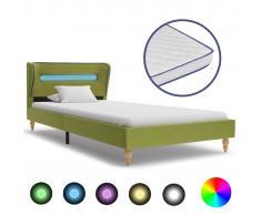 vidaXL Cama con LED y colchón viscoelástico tela verde 90x200 cm