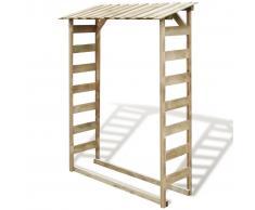 vidaXL Caseta para leña de madera de pino impregnada FSC 150x44x176 cm