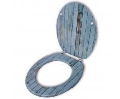 vidaXL Asiento de inodoro WC con tapa MDF diseño madera vieja