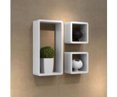 vidaXL Set de 3 estantes en forma de cubo MDF