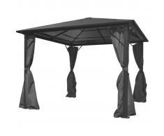 vidaXL Cenador con cortina gris antracita aluminio 300x300 cm