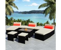 vidaXL Set de muebles jardín modular 25 pzas ratán sintético negro