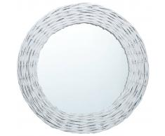 vidaXL Espejo de mimbre blanco 70 cm