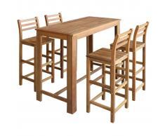vidaXL Set mesa de bar y sillas 5 piezas de madera de acacia maciza