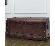 vidaXL Baúl cofre grande de madera marrón