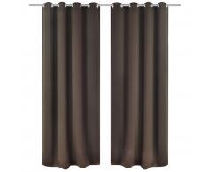 vidaXL 2 cortinas marrones oscuras con anillas blackout 135x245cm
