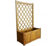 vidaXL Jardinera de jardín con enrejado madera de acacia