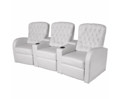 vidaXL Sofá reclinable 3 plazas de cuero artificial blanco