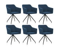 vidaXL Sillas de comedor giratorias 6 unidades tela azul