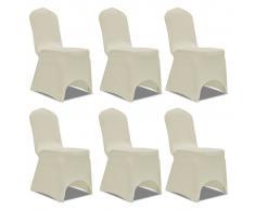 vidaXL Set de 6 Fundas ajustadas para sillas, color crema