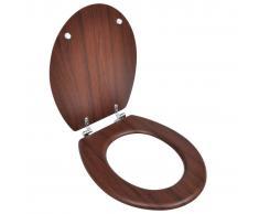 vidaXL Asiento inodoro WC MDF tapa de cierre fuerte diseño marrón