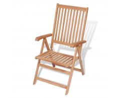 vidaXL Silla reclinable de jardín madera maciza de teca