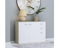 vidaXL Aparador de aglomerado color blanco y roble Sonoma 105x30x75 cm