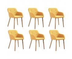 vidaXL Sillas de comedor 6 uds tela amarilla y madera maciza de roble