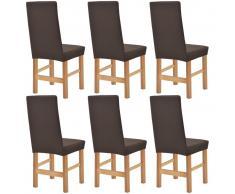 vidaXL Funda elástica para silla marrón piqué 6 unidades
