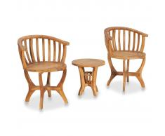 vidaXL Mesa y sillas de bistró para jardín 3 pzas madera maciza teca