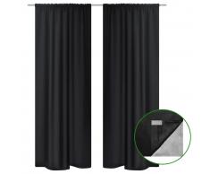 vidaXL 2 cortinas negras ahorradoras de energía blackout 140x245cm