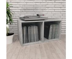 vidaXL Caja para discos de vinilo aglomerado gris hormigón 71x34x36cm