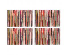 vidaXL Mantel individual 4 uds Chindi liso algodón multicolor 30x45cm
