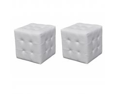 vidaXL 2 x Taburete De Forma Cubo Blanco