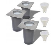 vidaXL Focos LED empotrables de suelo para exteriores 3 unids cuadrados