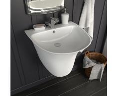 vidaXL Lavabo de pared de cerámica blanco 470x450x370 mm