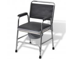 vidaXL silla con inodoro incorporado de acero inoxidable (Negra)