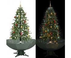 vidaXL Árbol de Navidad con nieve con base en paraguas verde 170 cm